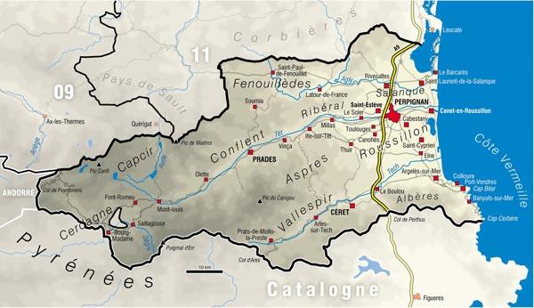 canyoning 66 carte des canyons du 66